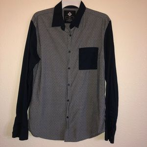 Cotton On blue & gray polka dot button down shirt